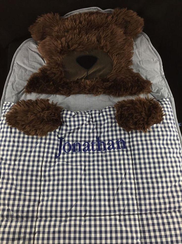 POTTERY BARN KIDS SHAGGY HEAD BEAR SLEEPING BAG *JONATHAN* NEW BLUE CHRISTMAS #PotteryBarnKids
