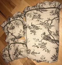 Mint 3pc Set Soft Surrounds QUEEN Dark Beige Duvet Cover Set Birds Sage Velvet