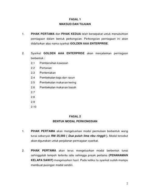 Contoh surat perjanjian Perkongsian