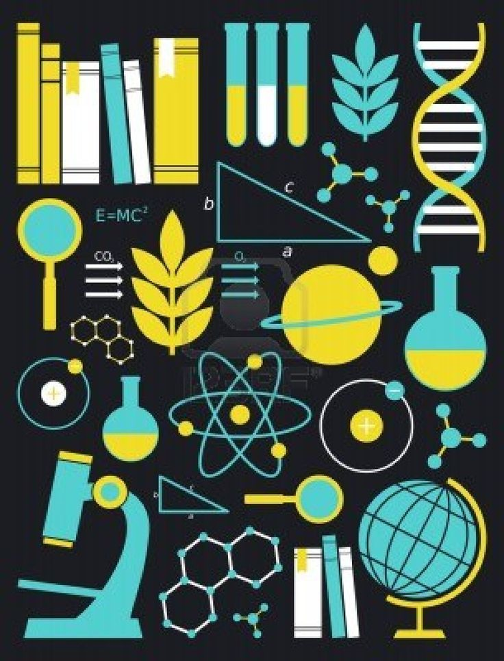A set of science and education symbols in yellow and blue   Stock Photo