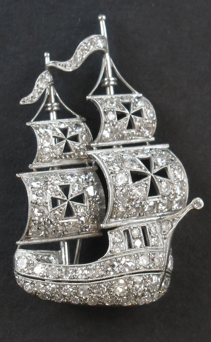 An Art Deco platinum and diamond Caravel brooch, circa 1930. #ArtDeco #brooch