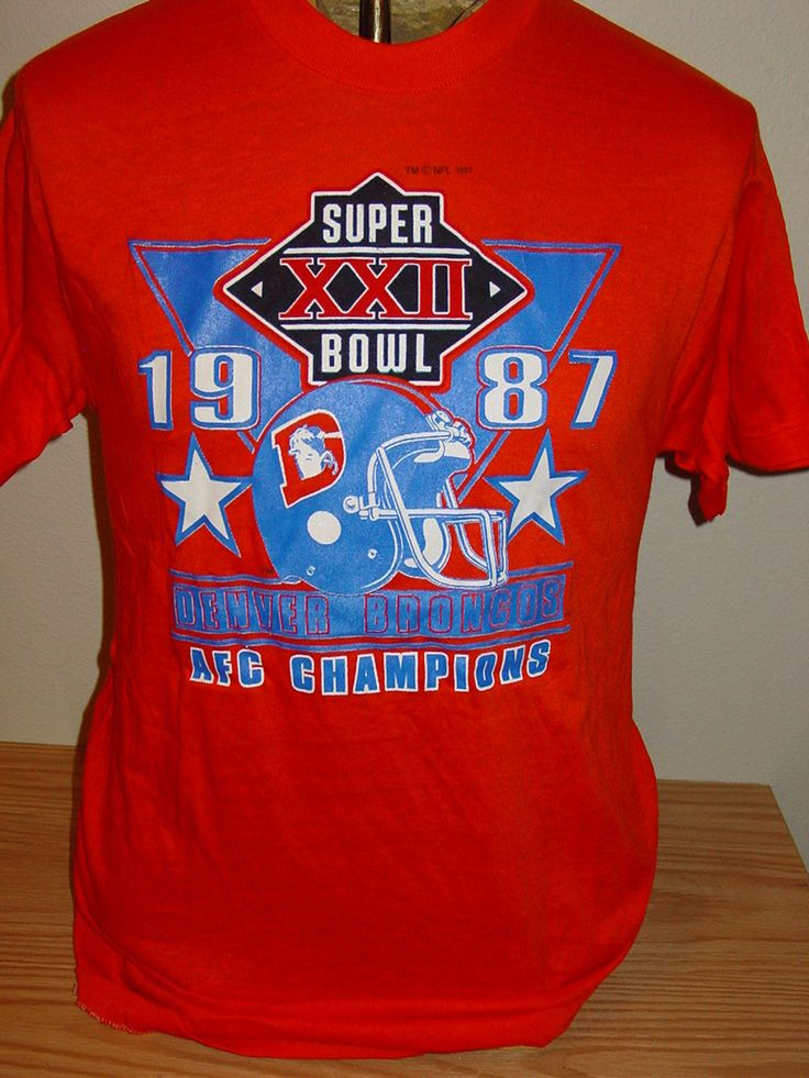 vintage 1987 Denver Broncos super bowl t shirt Large - Deadstock by vintagerhino247 on Etsy