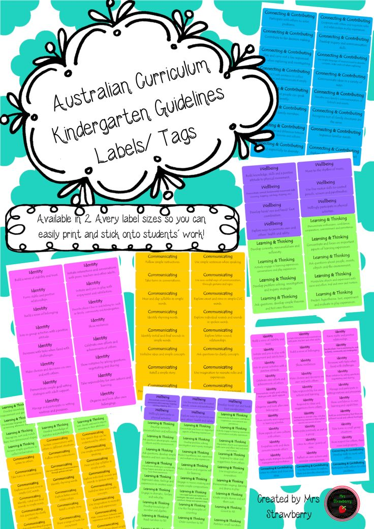 This package includes the Australian Curriculum Kindergarten Guidelines (WA) in label format. Each Curriculum guideline has been placed into a bright, colourful Avery label template. …