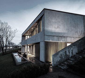 BAKS ARKITEKTER - Concrete House, Denmark. Nordic architecture, house, design, scandinavian, texture, raw, night scene