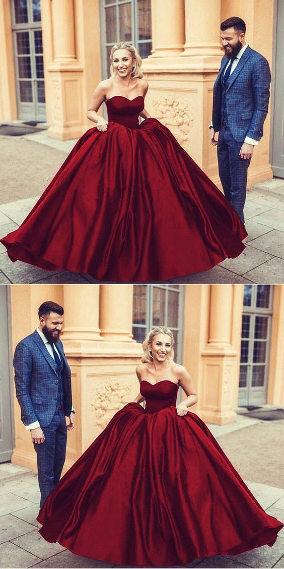 be1edd7d8d7 Navy blue sweetheart ball gowns satin wedding dresses 2019 in 2019 ...