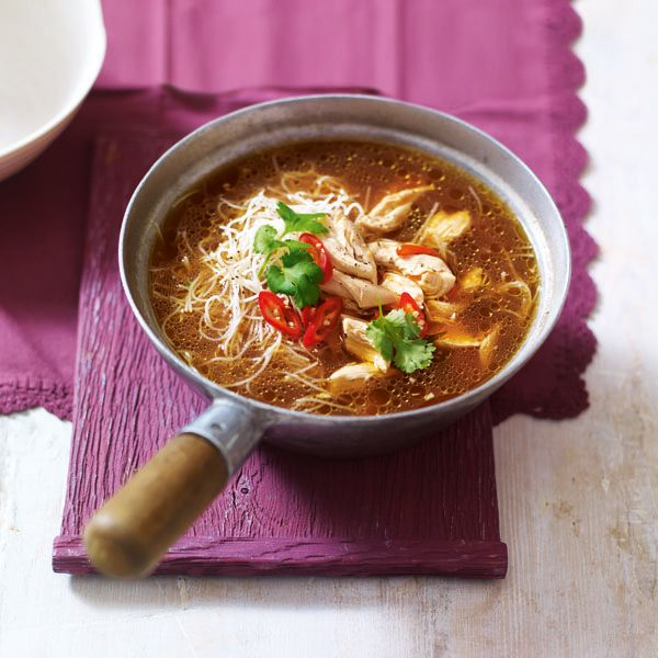 This speedy chicken noodle broth, with miso, chilli and ginger makes a brilliant shortcut supper.