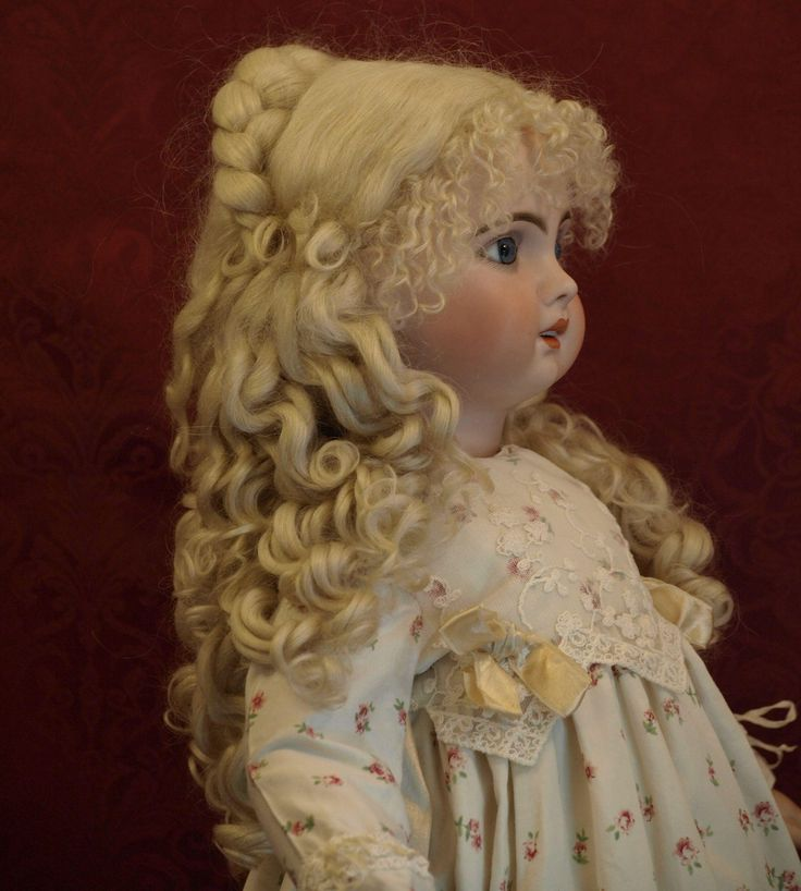 Gorgeous Mohair Antique Wig with Intricate Braided Bun-Wisp Curled Bangs -Excellent Quality