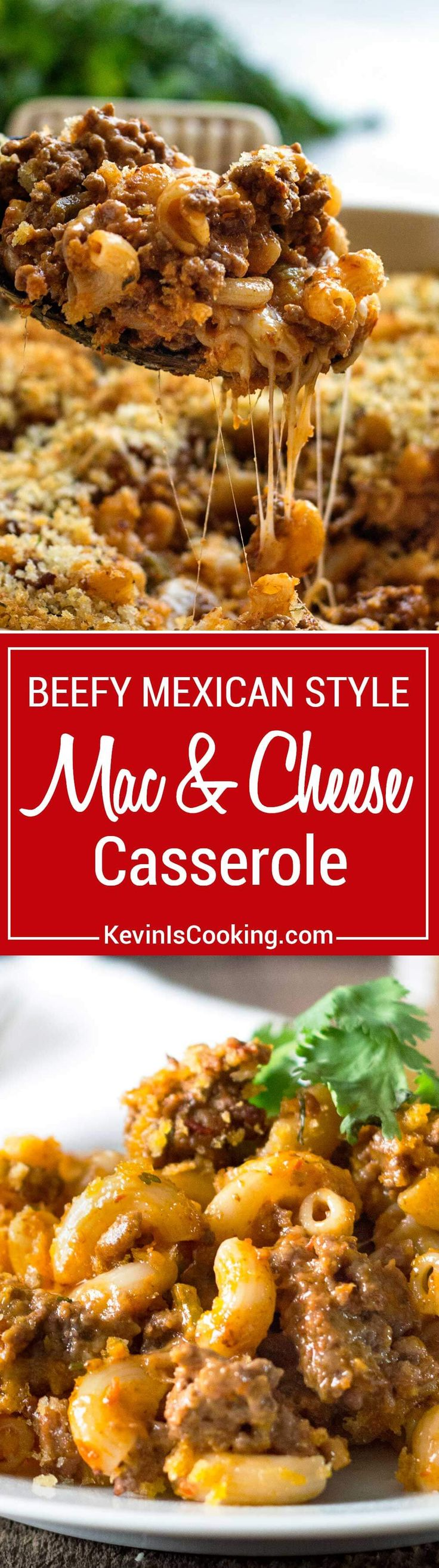 This stepped up Beefy Mac and Cheese Casserole goes a step further with a Mexican salsa addition to ground beef, extra cheese and crunchy breadcrumb topping. Comfort food that always pleases a crowd!