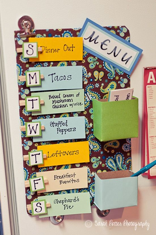 Dinner Menu - best one I've seen! So easy to flip through the stack and choose what u want. Could also write recipes on the back? I need to make this for the kids to help choose dinner each week. Looks better than a post it on the fridge., add to the chevron pin on my board.