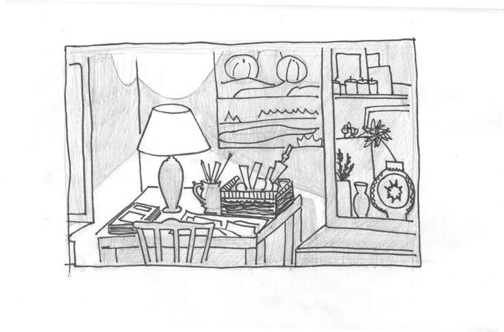 проба зарисовки интерьера