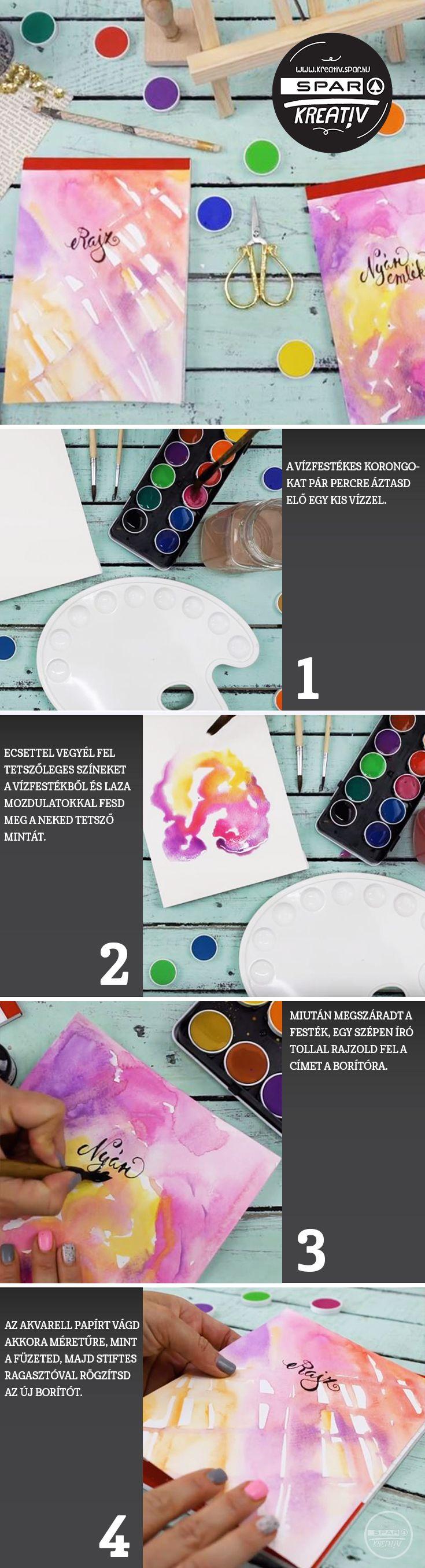 Hozzávalók:  Akvarell papír, Füzet ,Stiftes ragasztó, Ecset, Vízfesték, Fekete Toll