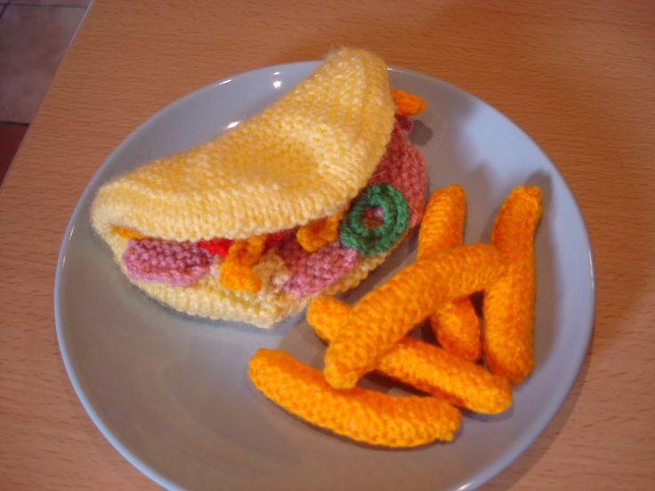 My knitted omelette with cheese, ham and peppers and chips.  Available for purchase from barginspls on Ebay