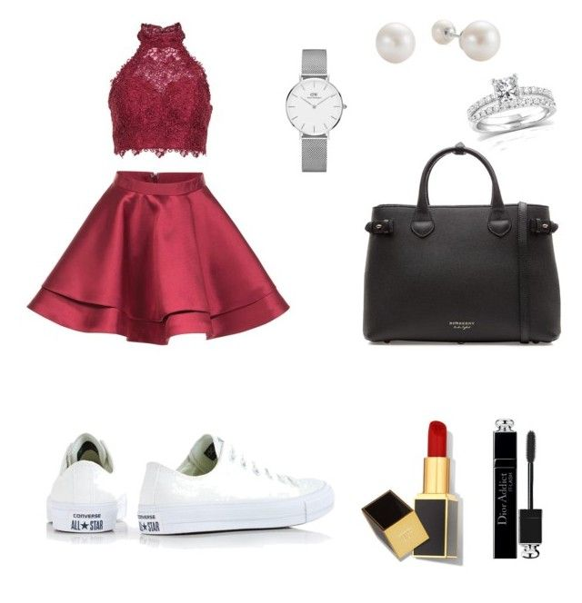 """""""Rouge noire blanc"""" by clemencedubois62 on Polyvore featuring Alyce Paris, Converse, Burberry, Daniel Wellington, Annello, Christian Dior and Tom Ford"""