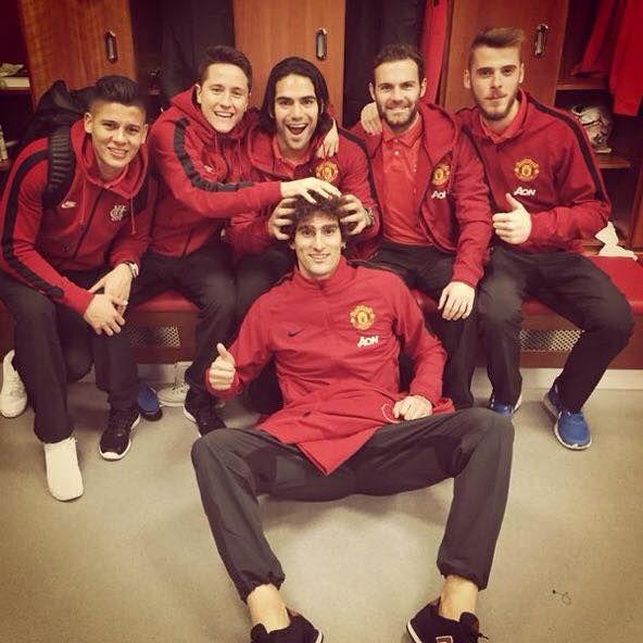 Marcos Rojo, Ander Herrera, Falcao, Juan Mata , David De Gea & Fellaini