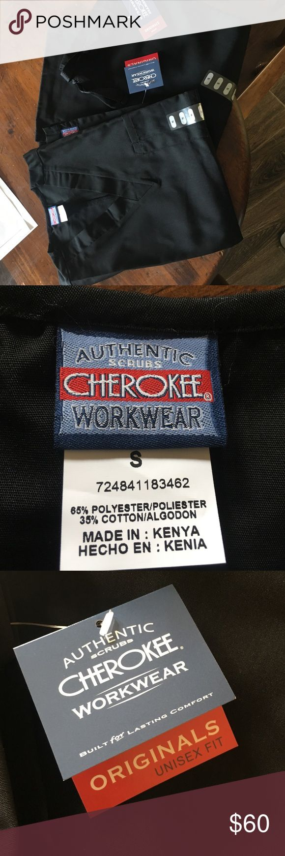 2 sets Cherokee black scrub Cherokee black scrubs, size Small, brand new with tags, unisex, 2 full sets. Cherokee Pants