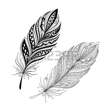 how to draw a feather tattoo