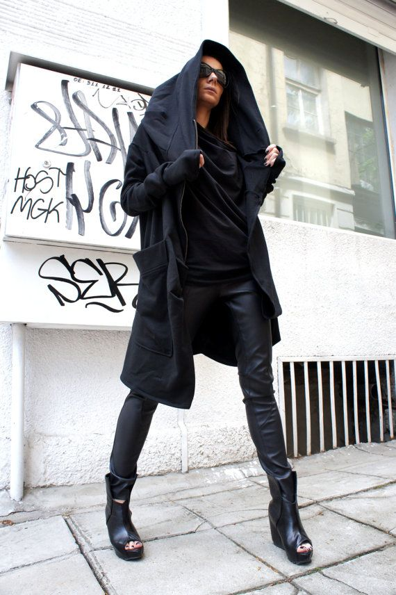 Asymmetric Extravagant Black Hoodded Coat / Qilted by Aakasha
