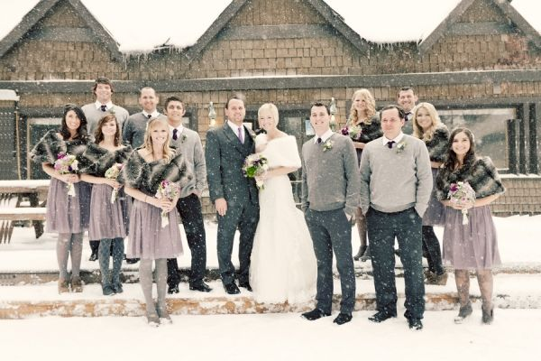 this would be my dream... wedding in snow with groomsmen in cute little sweaters and bridesmaids in fur.