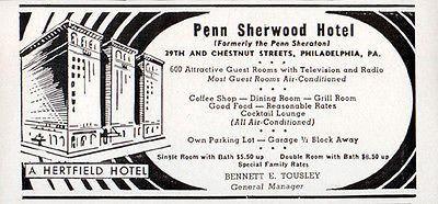 Penn Sherwood Hotel Philadelphia PA All TV Radio most AC 1956 Travel Tourism AD