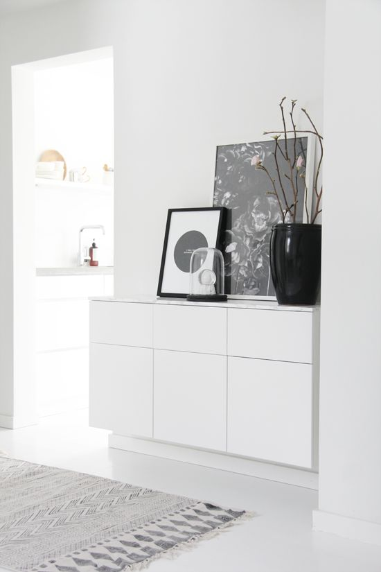 Scandinavian Interior - Hallway. Use IKEA Veddinge kitchen wall cabinets. More