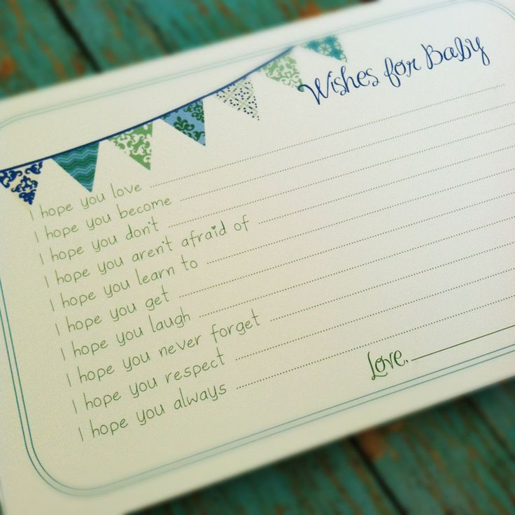 PRINTABLE Wishes for Baby Boy Cards - Unique Baby Shower Activity Game or Memory Book Idea - Blue and Green. $10.00, via Etsy.
