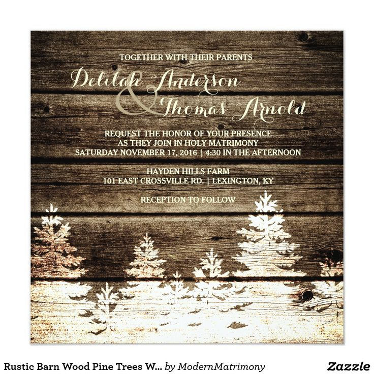 fast shipping wedding invitations%0A Rustic Barn Wood Pine Trees Winter Wedding Invite