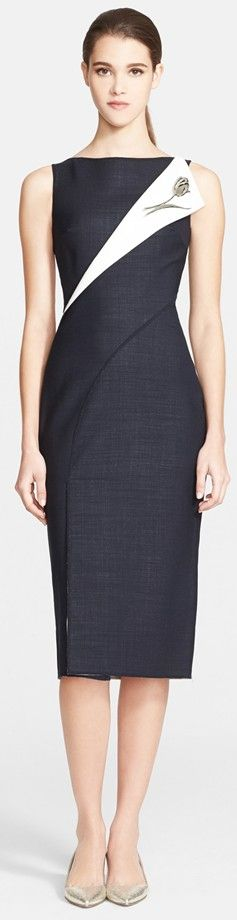 Oscar de la Renta Folded Double-Face Wool Blend Pencil Dress