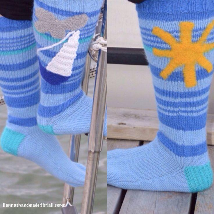 #handmade #woolsocks for Liisa. #sailing #sailingboat #summer #sun