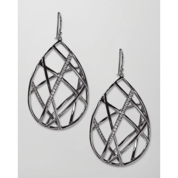 Ippolita Pave Diamond Geometric Teardrop Earrings ($2,495) ❤ liked on  Polyvore