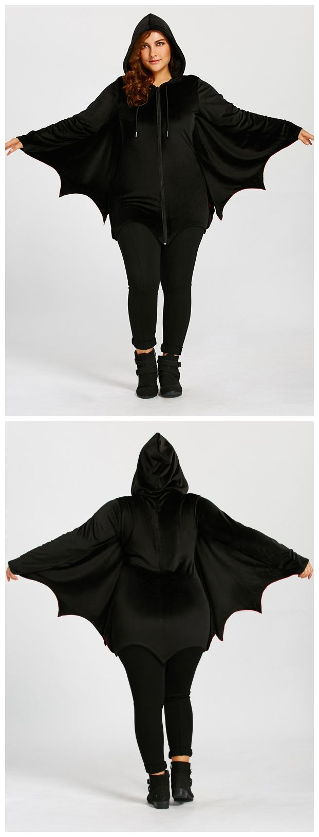 Plus Size Zip Up Bat Wings Hoodie - Black 5xl