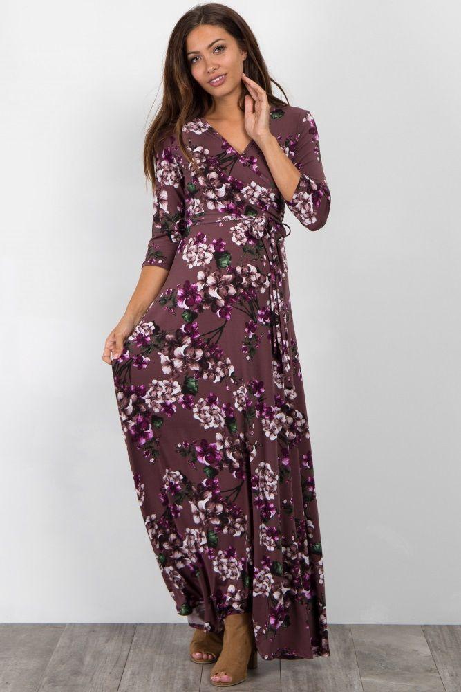 3286e497c42 Purple Floral Wrap Maternity Nursing Maxi Dress in 2019