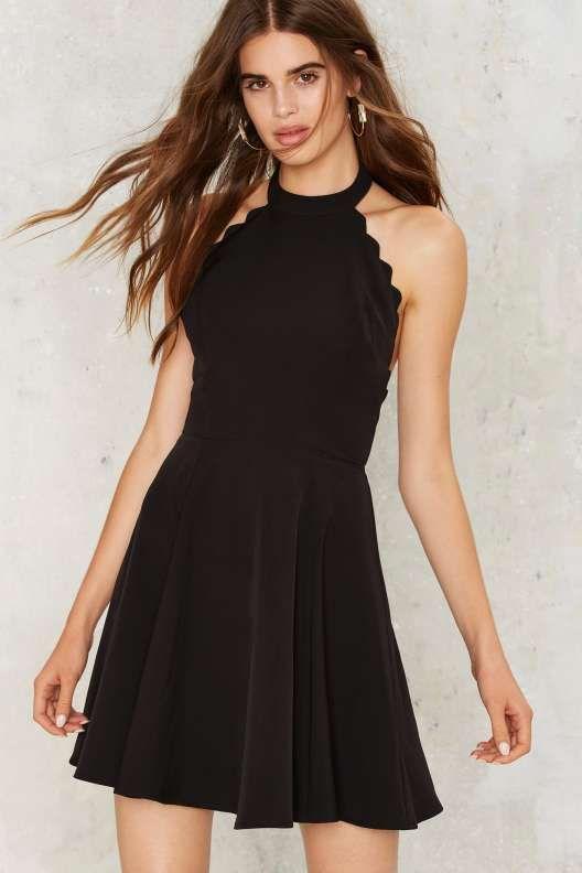 Full Scallop Attack Flare Dress - Black