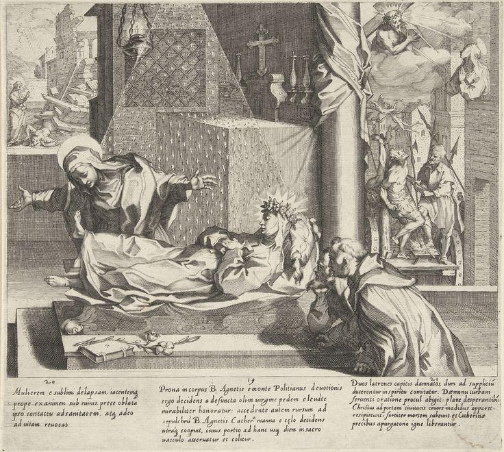 Pieter de Jode (I) | Catharina redt een vrouw / Catharina bij de heilige Agnes / Catharina bidt om vergeving, Pieter de Jode (I), Francesco Vanni (II), Francesco Vanni (II), 1597 | Van links naar rechts: Na een zware storm ligt een vrouw onder het puin van haar huis begraven. Catharina redt de vrouw.; Catharina bezoekt het lichaam van de heilige Agnes van Montepulciano dat opgebaard is in een kapel. Ze buigt voorover om de voeten van Agnes te kussen en de voet komt vanzelf omhoog.; Catharina…