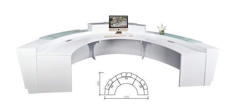 High Quality Semi Circle Half Round Exhibition Glass Top Reception