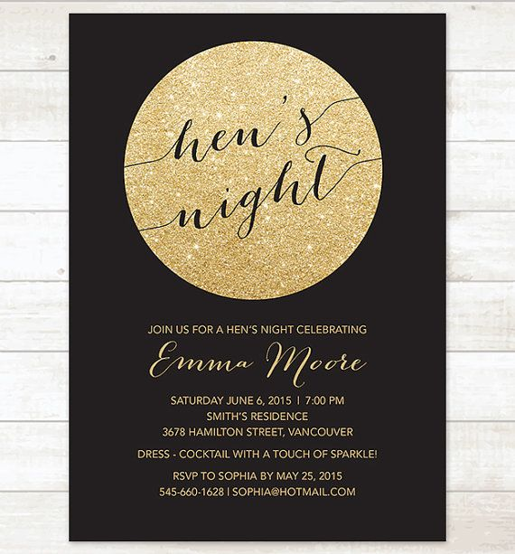 gold and black hen's night invitation black by pinkdahliaprintable