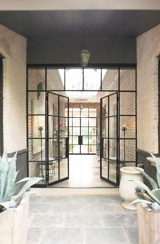 indoor or outdoor?  Randal Davis: Idea, Entry Doors, Brick Wall, Window, Steel Doors, Interiors Design, Glasses Doors, Irons Doors, Gray Houses