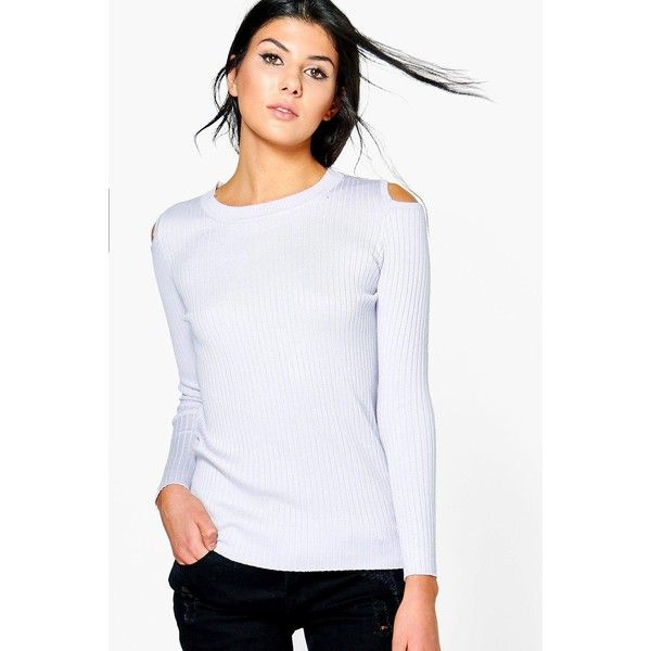 Boohoo Zoe Cold Shoulder Rib Knit Jumper ($5) ❤ liked on Polyvore featuring tops, sweaters, turtleneck sweater, cold shoulder turtleneck, party jumpers, nordic sweater and cutout shoulder sweaters