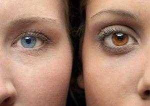 Couleur yeux froid/bleu et chaud/marron orangé