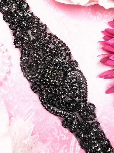 "XR155 Black Rhinestone Bridal Sash Applique Black Beaded 27"" -- Call (310) 882-5039 if you are looking for So Cal wedding ministers. https://OfficiantGuy.com"