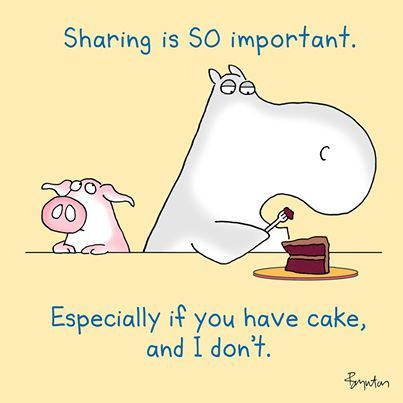 Sharing cake is SO important.