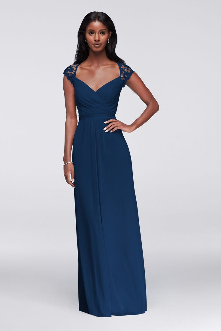 24 best multiway dress images on pinterest infinity dress the bodice of this long mesh bridesmaid dress is a thing of beauty it features a faux surplice frontnbsp lace cap sleeves and a dramatic keyhole back ombrellifo Gallery