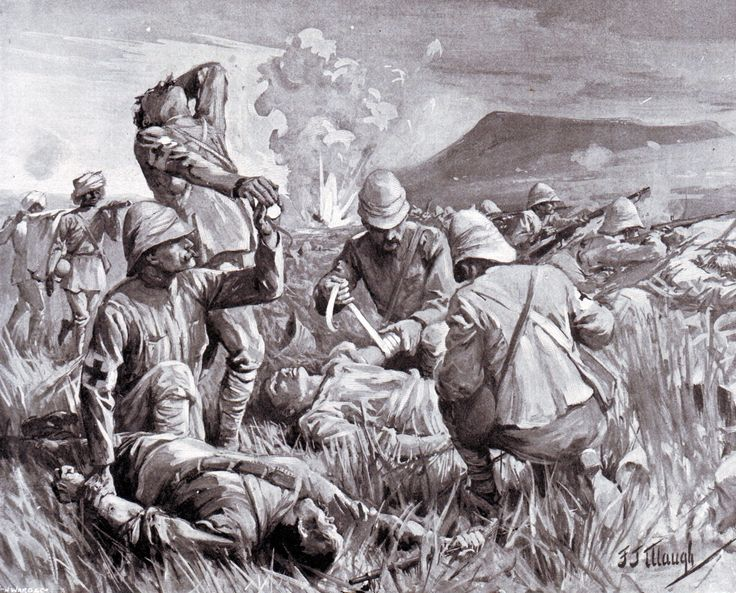 Army medical staff tending the wounded at the Battle of Colenso on 15th December 1899 during the Boer War