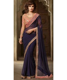 Artistic Blue And Pink Georgette Saree.