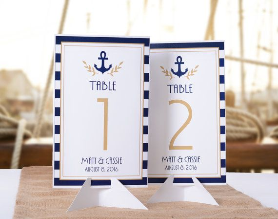 Nautical wedding table numbers - personalized for your special day! From LabelsRus