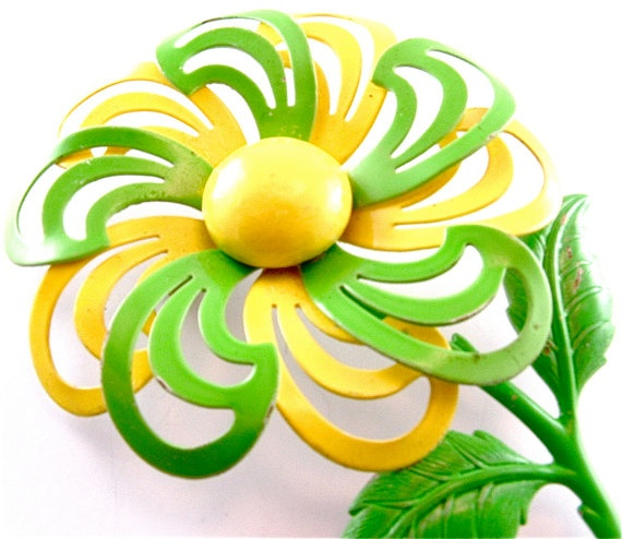 60s Floral Brooch Vintage Neon Jewelry Lemon Yellow Lime Green Pinwheel Enamel Flower Daisy Spring Fashion Pin