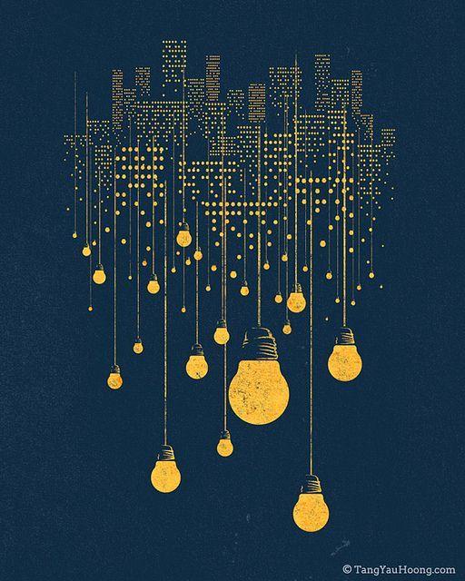 типа лампочки, как символ идеи, можно нарисовать желто-серые на белом фоне