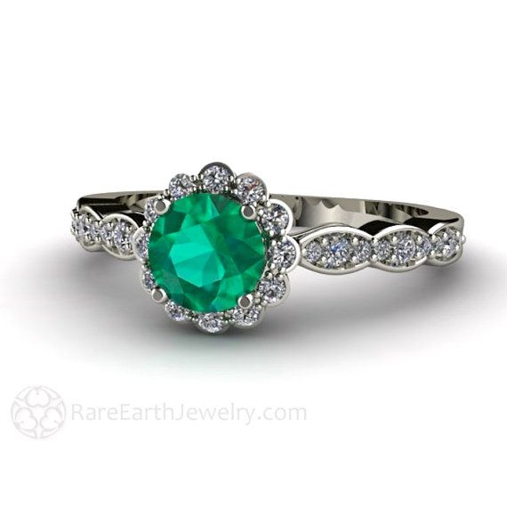 $1050 Emerald Engagement Ring 14K Diamond Halo Emerald Ring May Birthstone  Custom Bridal Jewelry
