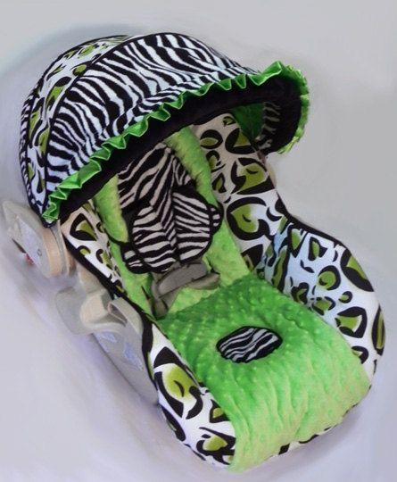 Custom Boutique Cheetah Zebra Lime Green Infant Car Seat Cover. $109.00, via Etsy.