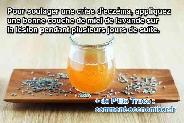 Vous cherchez un remède naturel pour apaiser vos petites lésions d'eczéma ? Heureusement, il existe un soin tout à fait naturel et peu coûteux. Il s'agit du miel de lavande.  Découvrez l'astuce ici : http://www.comment-economiser.fr/remede-pour-guerir-eczema.html?utm_content=buffer96dea&utm_medium=social&utm_source=pinterest.com&utm_campaign=buffer