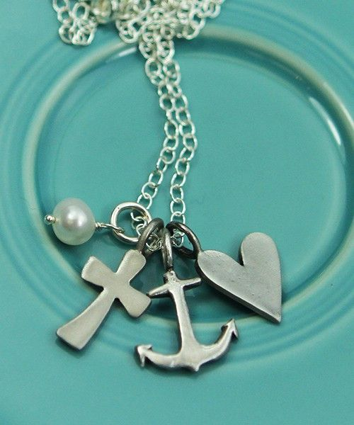 The Vintage Pearl Pewter Necklace | Faith, Hope, Love